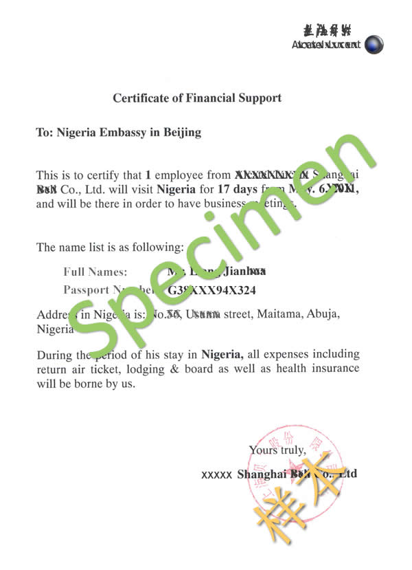 Visa section nigeria embassy china health certificate dispatch letter stopboris Image collections